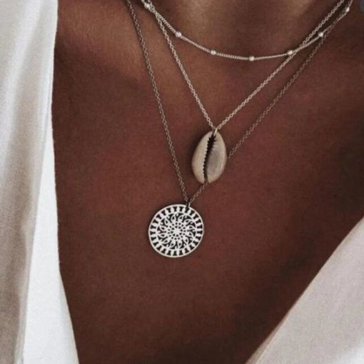 collier coquillage argente femme