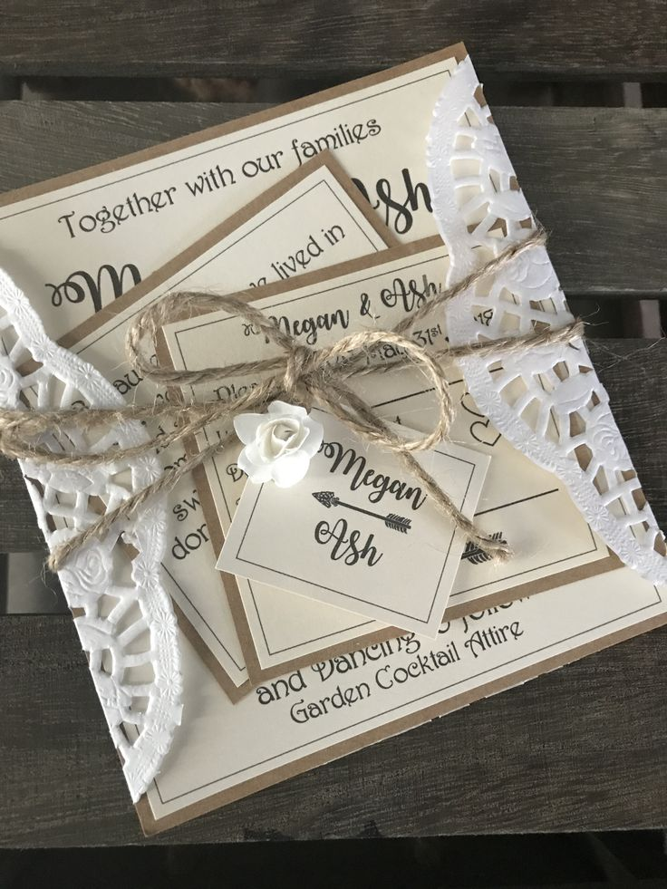 rustic wedding invitations diy kits%0A Rustic wedding invitations with doily paper