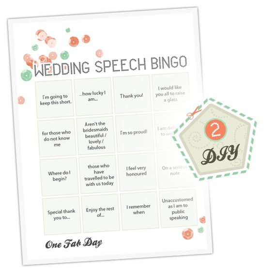 Such a great Idea! One Fab Day DIY Wedding Speech Bingo. Read More - http://onefabday.com/diy-wedding-speech-bingo/