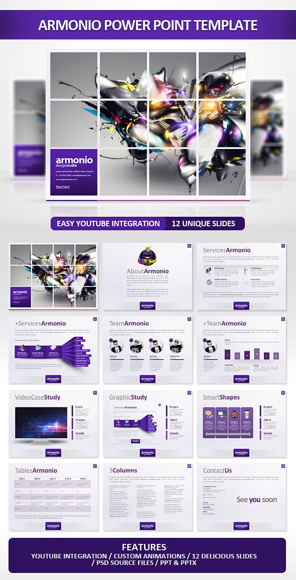 A modern and sick presentation special for a Agency or any type of business.Easy to change colors, text, photos. Fully editable. Play youtube videos This presentation enables you to play videos fro...