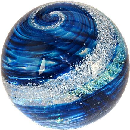 "Celebration Ashes 3"" Globe (Blue/Gold) Cremation Ash Glass Memorials www.celebrationashes.com"