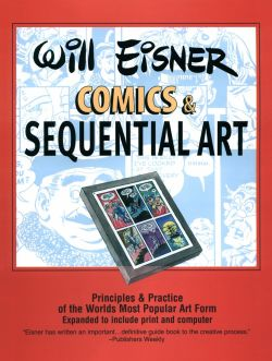 "Click and read! ""'Comics & Sequential Art"" by Will Eisner - Follow this link to see the PDF: http://www.floobynooby.com/pdfs/Will_Eisner-Theory_of_Comics_and_Sequential_Art.pdf"