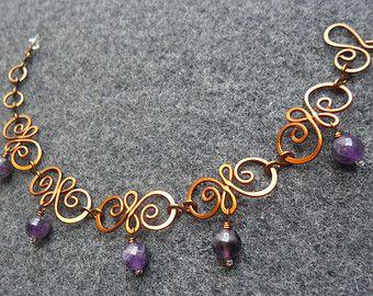 Pulsera cobre alambre de cobre flor de primavera por MakeMyStyle