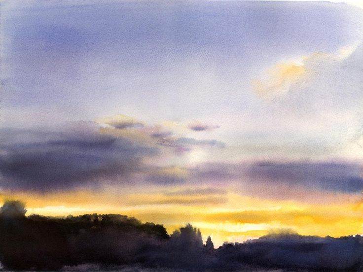 """These are the days"" - beautiful watercolor sunrise (?) by Jon Muth. In relation to N&L, I imagine the girls having a strong connection to the natural world."