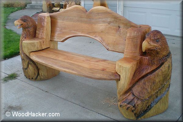 Chainsaw carved benches log bed cabin decor