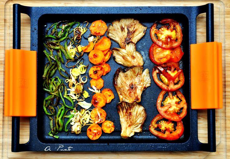 Verduras a la plancha con marinada de soja, ajo y jengibre.