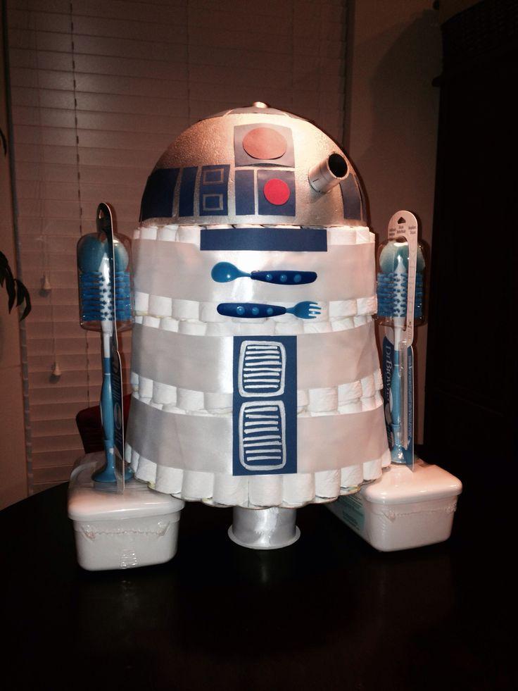 "R2D2 diaper ""cake"" for tessa's huggies & chuggies baby shower!!! @Tessa Jones"