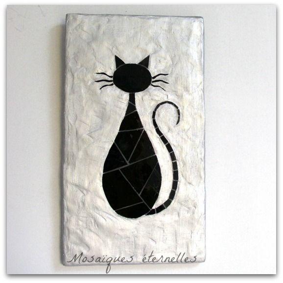"""Tableau en mosaïque de verre """"Chat noir"""""""