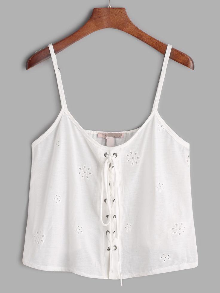 Shop White Embroidered Hollow Out Lace Up Crop Cami Top online. SheIn offers White Embroidered Hollow Out Lace Up Crop Cami Top & more to fit your fashionable needs.