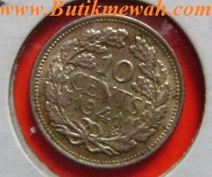 Netherlands silver 10 cents coin from 1941