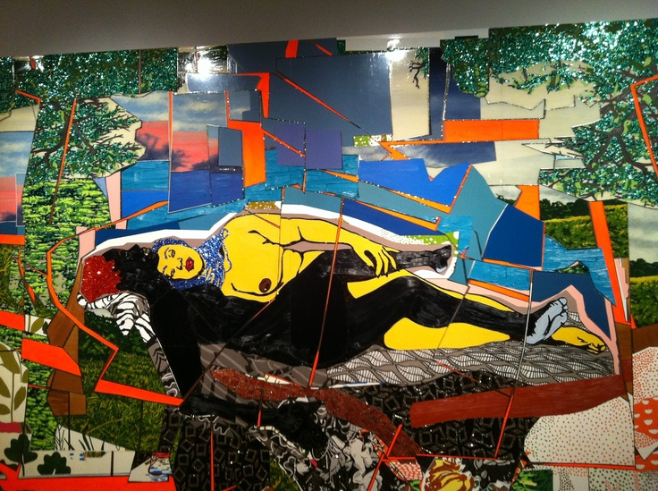 Incredible piece. Must see up close. Go to Mickalene's show at the Brooklyn Museum