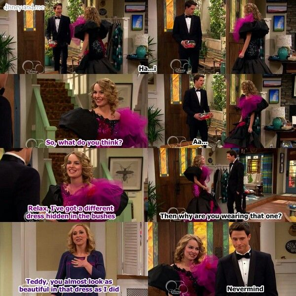 Disney Channel Good Luck Charlie. Teddy Duncan, Spencer Walsh, and Amy Duncan. Bridgit Mendler, Shane Harper and Leigh Allyn. Prom dress..