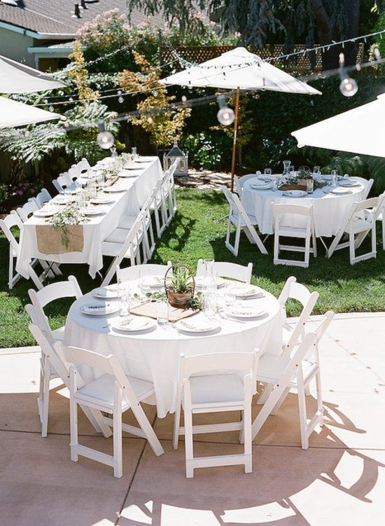 """Outdoor Affair: The shower was set up in Taylor's parents' backyard. """"I'm really proud of how much we did ourselves, and how many places we found opportunities to cut costs,"""" Taylor says. """"We did end up getting some rentals, but many of the things we used belonged to us."""" Source: Glitter Guide"""
