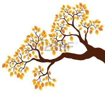 dibujos de hojas de otoño: Rama de un árbol con hojas de naranja 1 - ilustración vectorial.