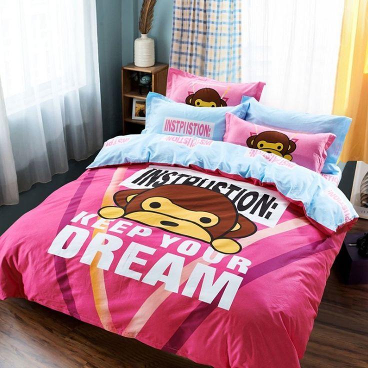 Cartoon Anime Design Animal Pattern Duvet Cover Set Cute Monkey Bedding Set Kids Boys Girls 100