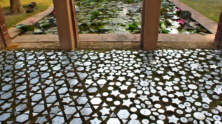 permanent installation at Sanskriti Kendra, New Delhi    made of 2 intersecting patterns of  mirror pieces