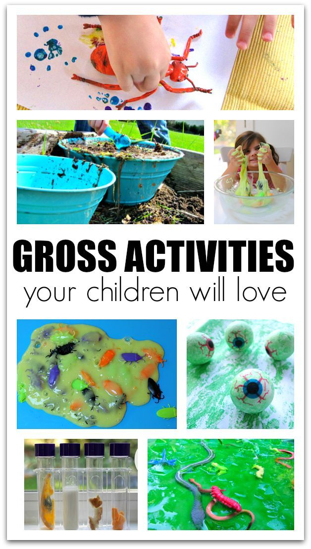 Messy, slimy and gross activities for kids. Fun sensory play for toddlers, sensory activities for preschool, and fun after school ideas for big kids.