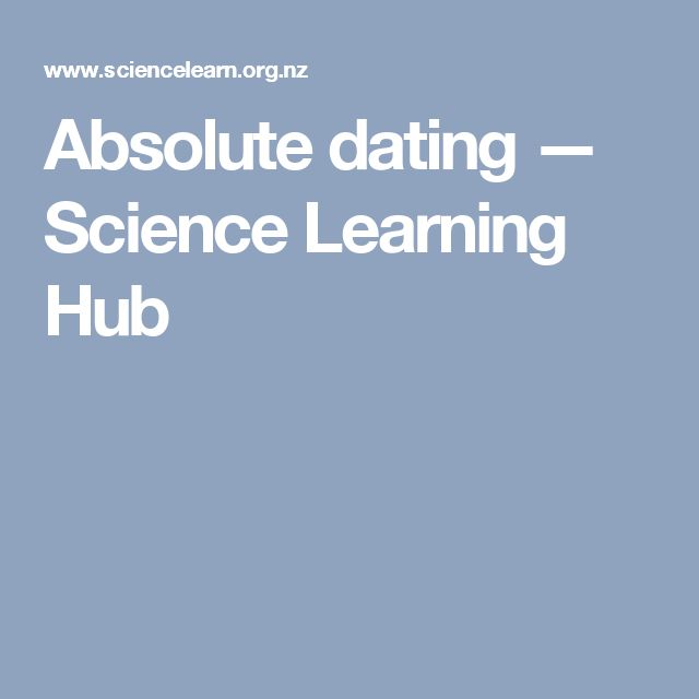 Absolute dating — Science Learning Hub