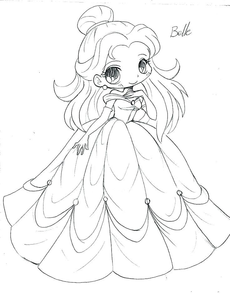 Cute Princess Coloring Page Youngandtae Com In 2020 Chibi Coloring Pages Disney Princess Coloring Pages Princess Coloring Pages
