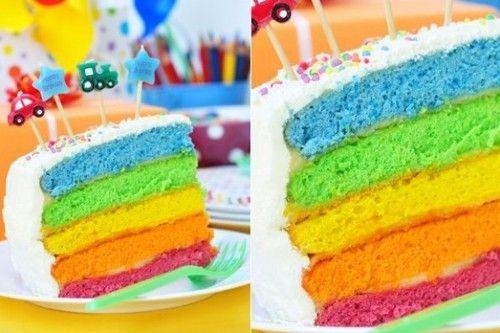 Receta de Torta de Arco IRIS : Ingredientes:  Para el relleno de colores:  230 gramos de mantequilla 2 1/3 taza de azúcar 5 claras a temperatura ambiente 2 cucharaditas de vainilla 3 tazas de harina 4 cucharaditas de polvo de hornear 1/2 cucharadita de sal 1 1/2 taza de leche (entíbiala 30 segundos en el microondas) Colorantes de comida de colores  Para la cobertura:  9 claras 1 3/4 taza de azúcar 450 gramos de manteca a temperatura ambiente 2 cucharaditas de extracto de ...