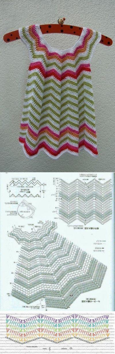 Крючком Вязание Ремесленная: маленькое летнее платье( пульсация )