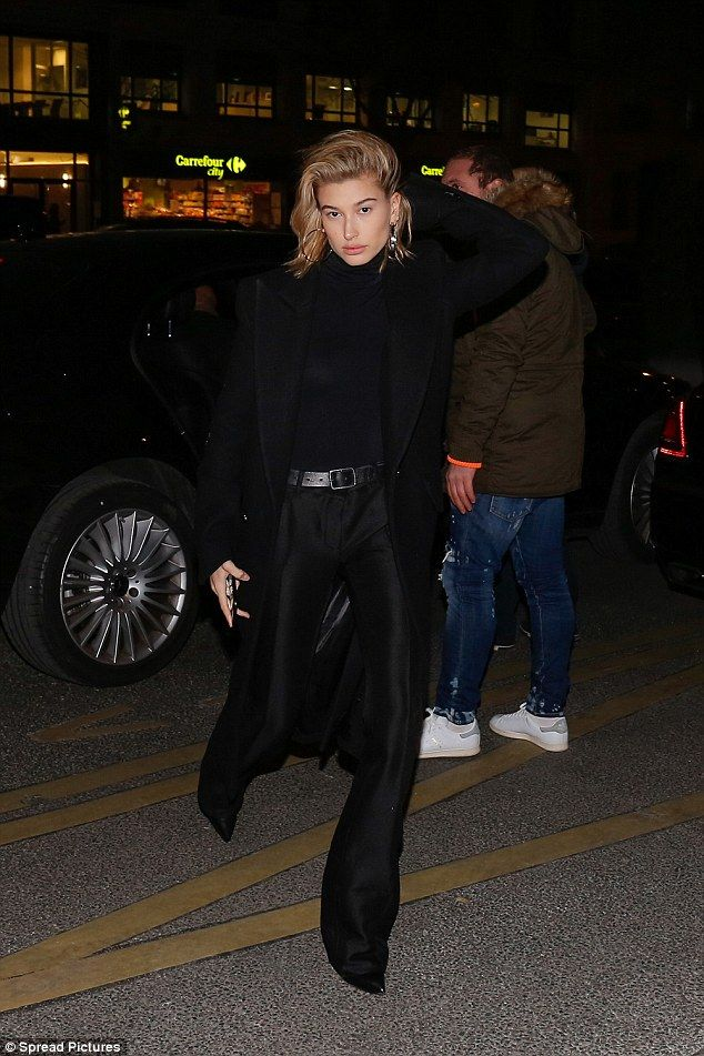 Parisian chic: Hailey Baldwin, 21, appeared to take style inspiration from her surrounding as she oozed Parisian chic as she arrived to the Royal Monceau Hotel in the French capital on Wednesday