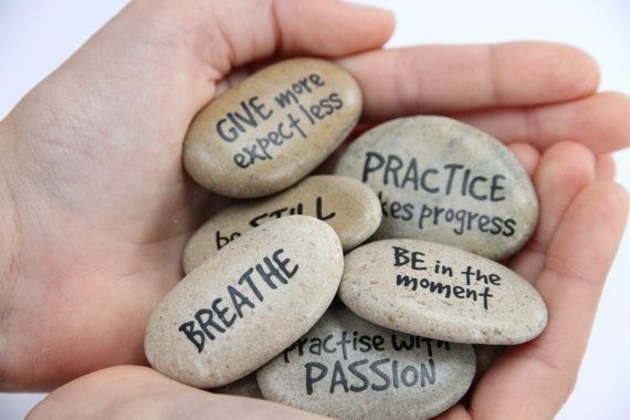 YOGA MESSAGE STONES Motivational Stones by DOLITTLECRAFTS on Etsy