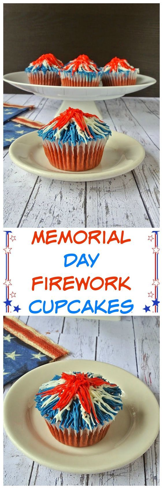 Memorial Day firework cupcakes. Red velvet cupcakes adorned with the red, white and blue. These patriotic Memorial Day firework cupcakes will be the star of your Memorial Day barbecue.