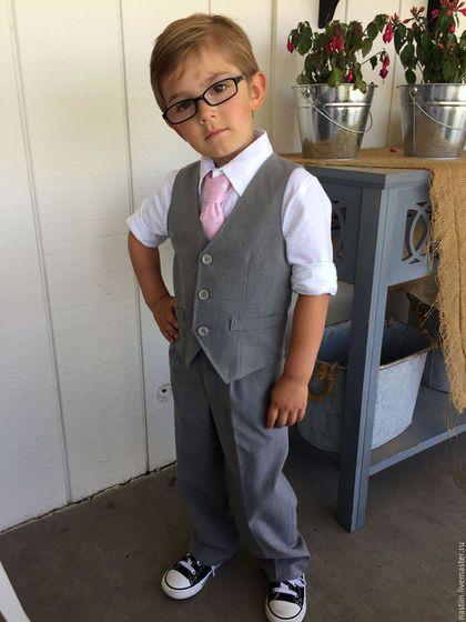 Costume for boy / Одежда для мальчиков, ручной работы. Ярмарка Мастеров - ручная работа. Купить Нарядный серый костюм для мальчика: жилет и брюки. Handmade.