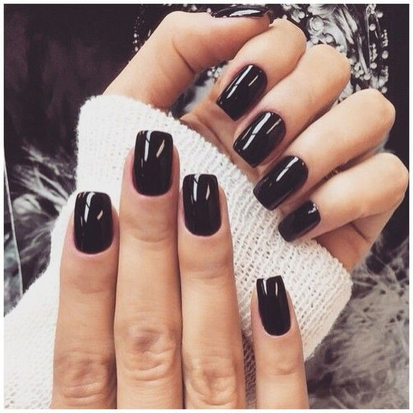 Shiny Black Nails Black Gel Nails Short Acrylic Nails Square Nails