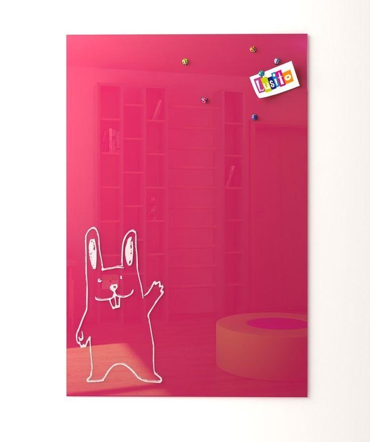 Nástěnky : Skleněná magnetická nástěnka růžová
