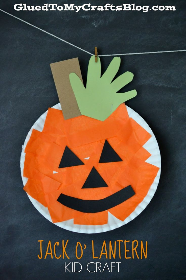 paper plate pumpkin kid craft - Preschool Crafts For Halloween