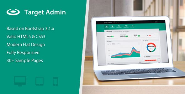 Target Admin is a sleek, responsive admin theme that allows you to get your project started quickly and with ease. Included are multiple example pages, elements styles, and javascript widgets to ge...