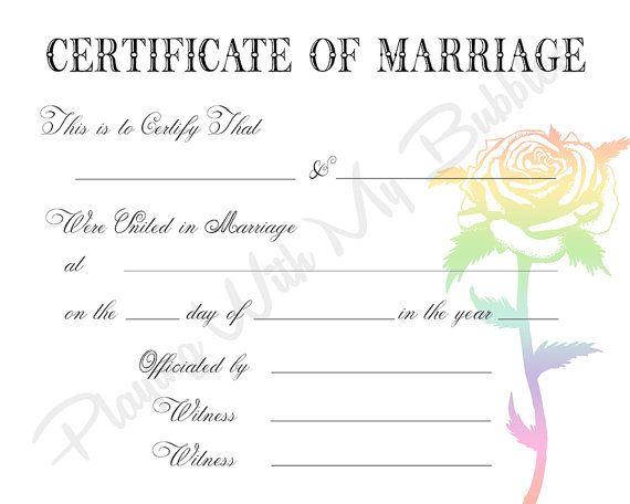 Rainbow flower lgbt gay marriage keepsake marriage for Gay marriage certificate template