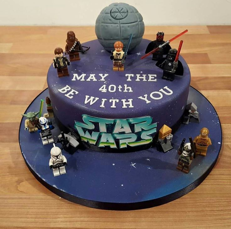 Star wars lego figures and Death Star Birthday cake. May the 40th be with you! From Dolly Train Event and Celebration Cakes