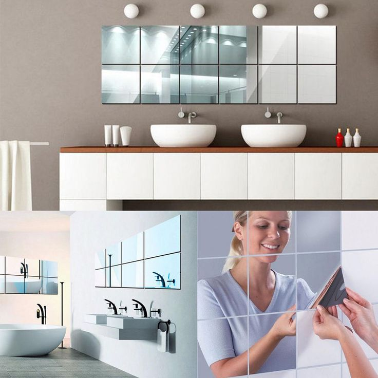 9/16pcs Square Mirror Surface Wall Stickers 3D Decal Mosaic Bathroom