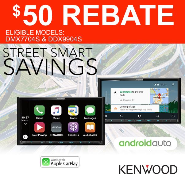 Are you ready to move your mobile audio into the modern era? Well here's a great opportunity, because Kenwood is currently offering a $50 rebate on Apple CarPlay/Android Auto-equipped receivers! And we have the DMX7704S and DDX9904S models in stock right now! These digital multimedia receivers are loaded with features including a big 6.95-inch touchscreen, bluetooth hands-free calling, Apple CarPlay and Android Auto technology, backup camera readiness, and much more.
