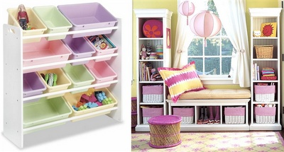 Organize girls room. Loving the shelves around the window, cute reading area.