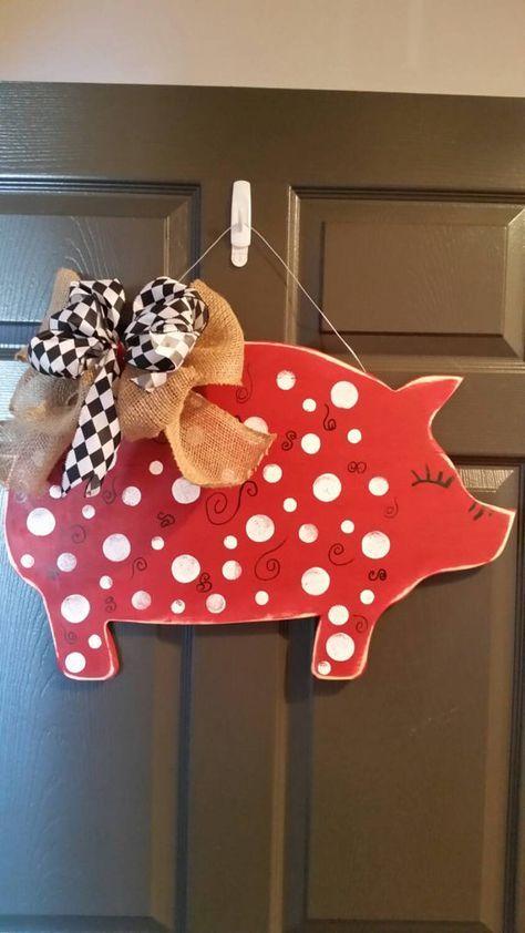Painted Pig Door Hanger  door hanger wreath pig by AEinspirations