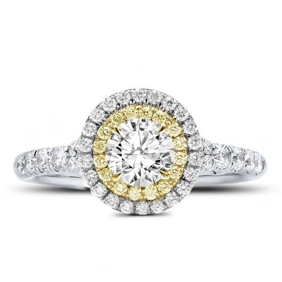 Yellow and White Double Halo Ring Setting in White Gold - R3070