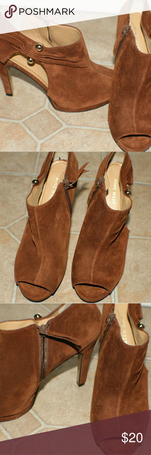 Size 6 brown NINE WEST heels Brown in color size 6 NINE WEST heels. Open toed, open heeled slender look. Adorable. Looks great with casual wear jeans or with cute summer/spring dress. Only worn a couple of times.   *FREE SHIPPING** Nine West Shoes Ankle Boots & Booties