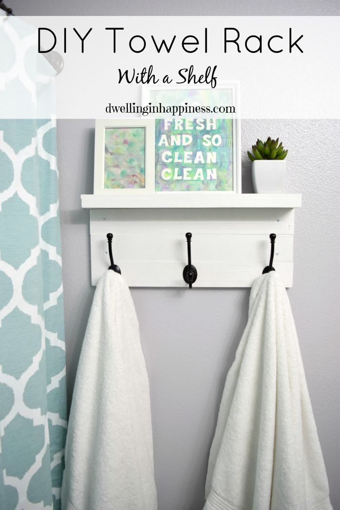 Love this quick DIY from Dwelling in Happiness showing how to make a very nice looking, but simple to build towel rack for the bathroom. Great use of our hooks too!