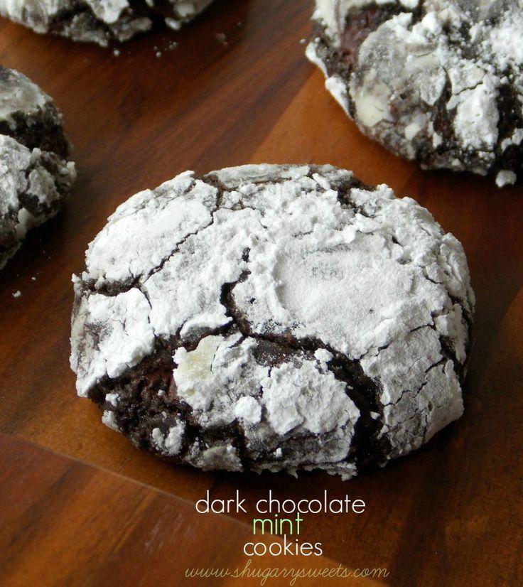 dark chocolate mint cookies: soft minty brownie like cookies