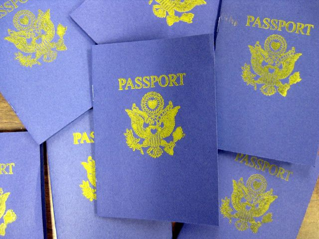 kid created passports. I think I'll make these for the girls and put the places we've moved in them.