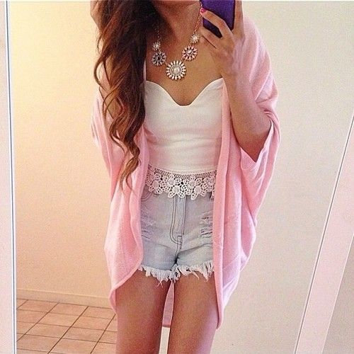 high waisted shorts, lace crop top, kimono cardigan. love the pink