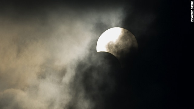 Heavy clouds obscured the event in Hong Kong.
