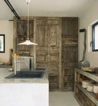 Reclaimed Wood Cabinets And Concrete Cabinetry