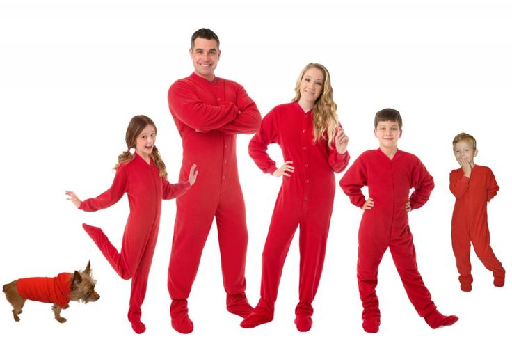 Micro Polar Red Fleece Onesie Footie Pajamas for everyone.   Awesome matching Christmas pajamas for adults, kids and pets. High quality 230gsm micro polar brushed fleece that will not pill, shrink or fade. Red Fleece Pajamas for men, women & kids.  Do not forget a fleece hoodie for the pets.  Code PIN15 saves you 15% on everything!  #familypajamas