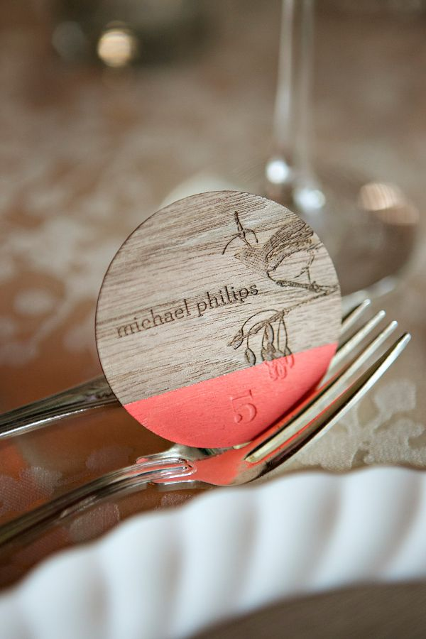Laser-engraved walnut wedding place/name card  |  Anticipate Invitations, photo by Leslie Gilbert