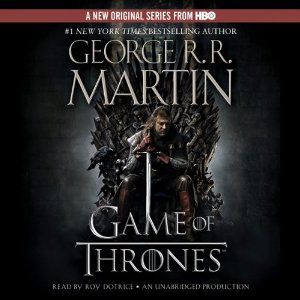 Be prepared.  This book lasts for over 30 hours when you listen to it and it's absolutely addicting.  The narrator has a name that seems pulled out of the novels (Roy Dotrice) but his crones and royals can be headache-inducing.
